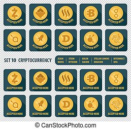 set of ten different cryptocurrency icon - set icon flat of...