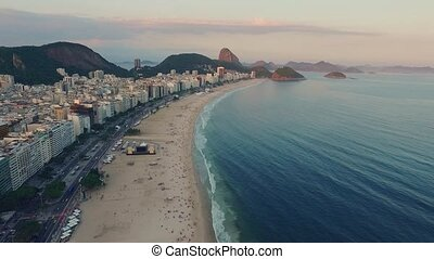 Panorama of the coastal zone of Rio da Janeiro at sunset....