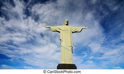 The famous statue of the Christ-Redeemer statue with open...