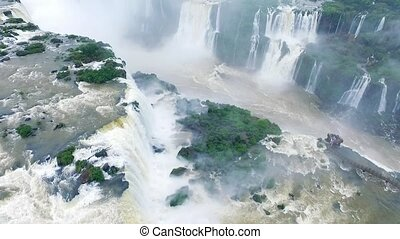 The drone falls over the Iguazu waterfall system. Shevelev....