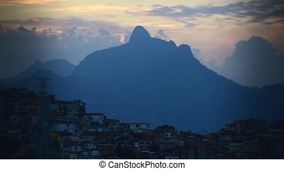 Panorama of the slums and mountains of Rio da Janeiro at...