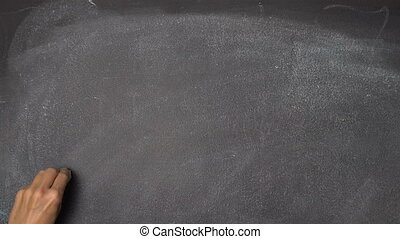 "Hand writing ""MIND"" on black chalkboard - Woman's hand..."