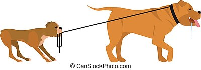 small and big dogs - Vector illustration in flat cartoon...