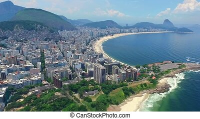 Aerial view of Rio de Janeiro and the Atlantic Ocean with...