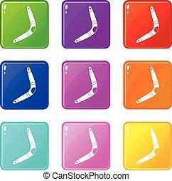 Boomerang icons 9 set - Boomerang icons of 9 color set...