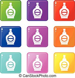 Maple syrup in glass bottle icons 9 set - Maple syrup in...