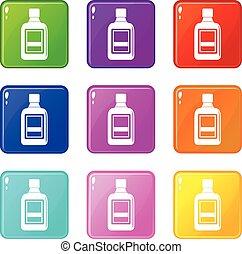 Plastic bottle icons 9 set - Plastic bottle icons of 9 color...