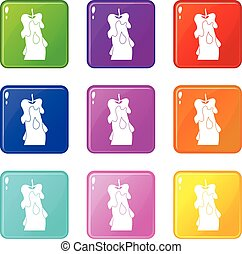 Candle icons 9 set - Candle icons of 9 color set isolated...