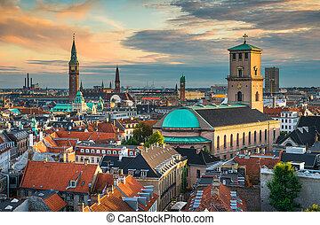 Skyline of Copenhagen, Denmark - Sunset skyline of...