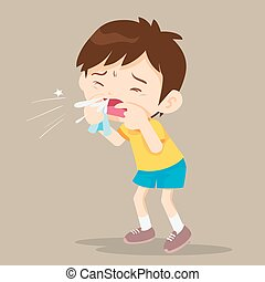 Child blow the nose. Cute boy using tissue to wipe snot from...