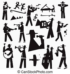 jazz band doodles - music band vector icon set , design...