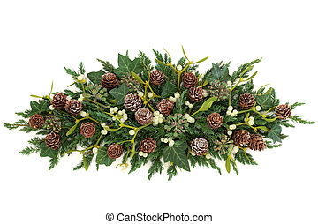 Winter Greenery Display - Winter greenery display with...