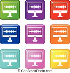 Sound waves icons 9 set - Sound waves icons of 9 color set...