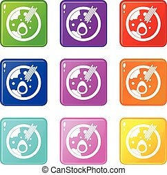 Miso soup icons 9 set