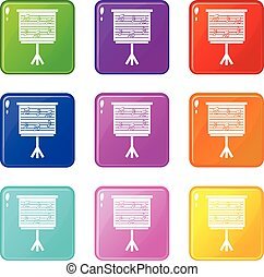 Whiteboard with music notes icons 9 set - Whiteboard with...