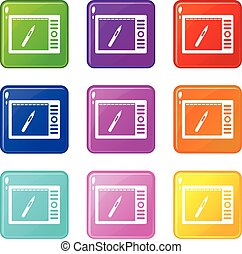 Graphics tablet icons 9 set - Graphics tablet icons of 9...