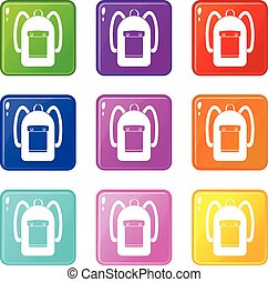 Backpack icons 9 set - Backpack icons of 9 color set...
