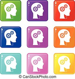 Gears in human head icons 9 set