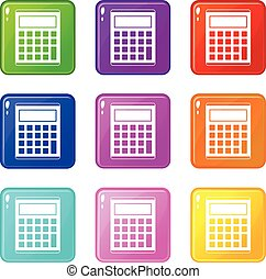 Office, school electronic calculator icons 9 set - Office,...