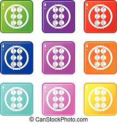 Asian shashlik icons 9 set - Asian shashlik icons of 9 color...