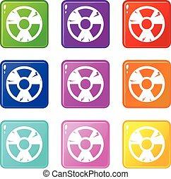 Radiation sign icons 9 set
