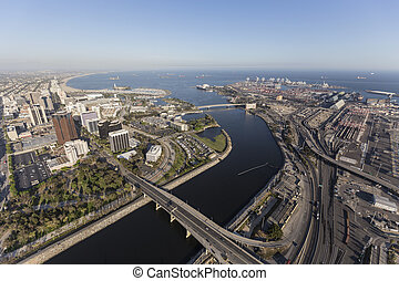 Aerial of Long Beach California - Aerial view of streets,...