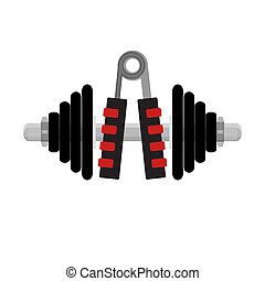 Fitness icon to hands. Expander and dumbbell. Sport and...