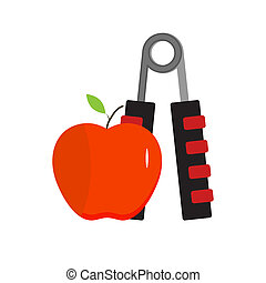 Expander and apple, healthy eating and sport. Equipment for...