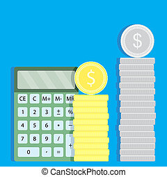 Count money with calculator. Financial currency and...