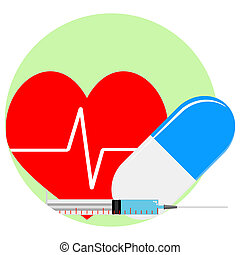Heart reanimation icon. Injection and pill for healthy...