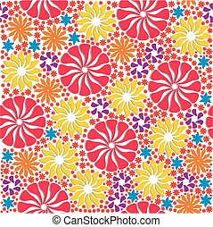Vivid Colorful Repeating Flowers Background