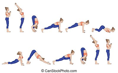 Sun salutation. Surya namaskara. Yoga sequence.