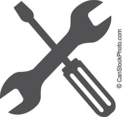 Tools icon in black on a white background. Vector illustration