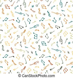 Varicolored seamless music pattern in doodle style on white...