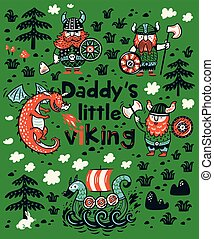 Daddys little viking print for childrens clothing - Daddys...