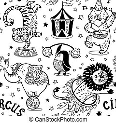 Circus seamless pattern. Vector contour background