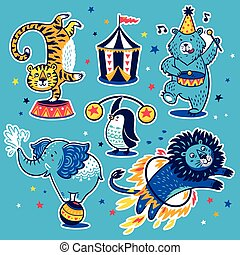 Collection of vector stickers with circus animals