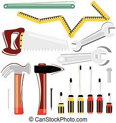 Worker Tool Set including hammer meter screw drivers and saw