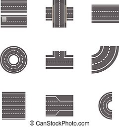 Road constructor icons set, cartoon style - Road constructor...