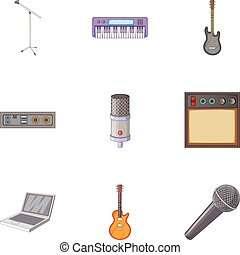 Sound recording studio icons set, cartoon style - Sound...