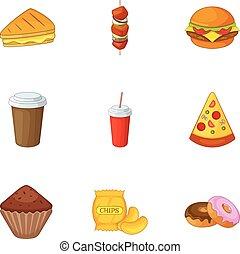Harmful fast food icons set, cartoon style