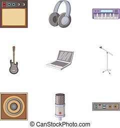 Music studio icons set, cartoon style - Music studio icons...