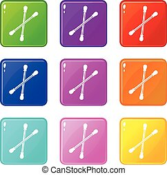 Cotton buds icons 9 set - Cotton buds icons of 9 color set...