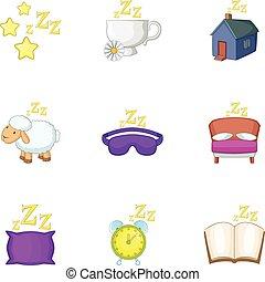 Preparation to sleep icons set, cartoon style