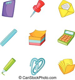 School stationery icons set, cartoon style