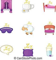 Sleep things icons set, cartoon style
