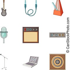 Music studio equipment icons set, cartoon style - Music...