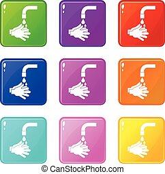 Cleaning hands icons 9 set - Cleaning hands icons of 9 color...