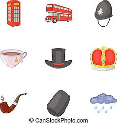 United Kingdom travel icons set, cartoon style