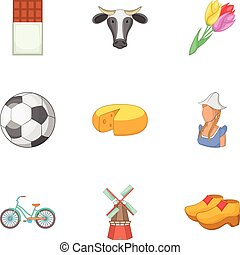 Rural things icons set, cartoon style